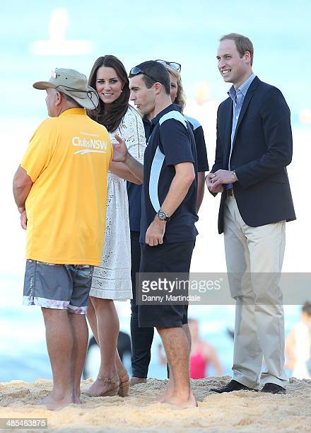 Catherine Duchess of Cambridge and Prince William Duke of Cambridge talk to life savers during a visit to Manly Beach on April 18 2014 in Sydney...