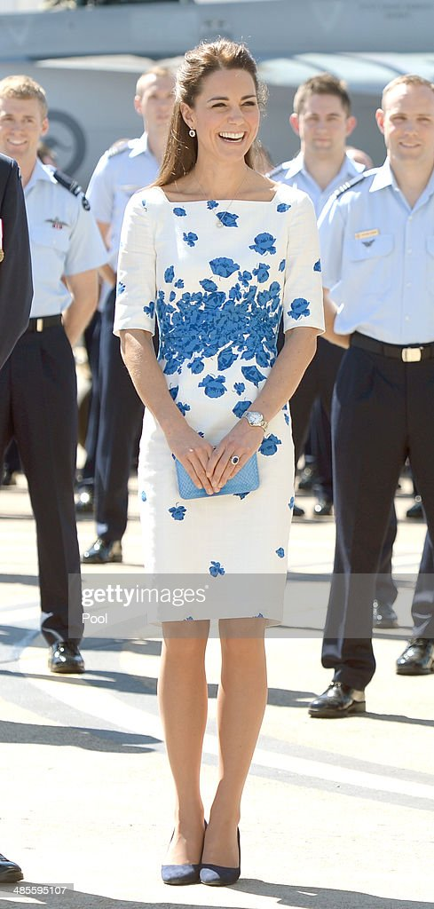 Catherine Duchess of Cambridge and Prince William Duke of Cambridge arrive at the Royal Australian Airforce Base at Amberley on April 19 2014 in...