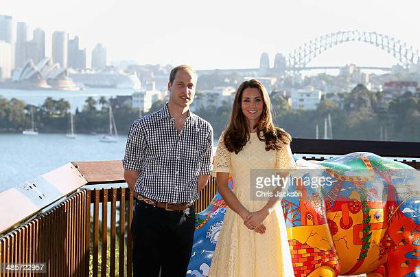 Catherine Duchess of Cambridge and Prince William Duke of Cambridge during a visit to Taronga Zoo on April 20 2014 in Sydney Australia The Duke and...