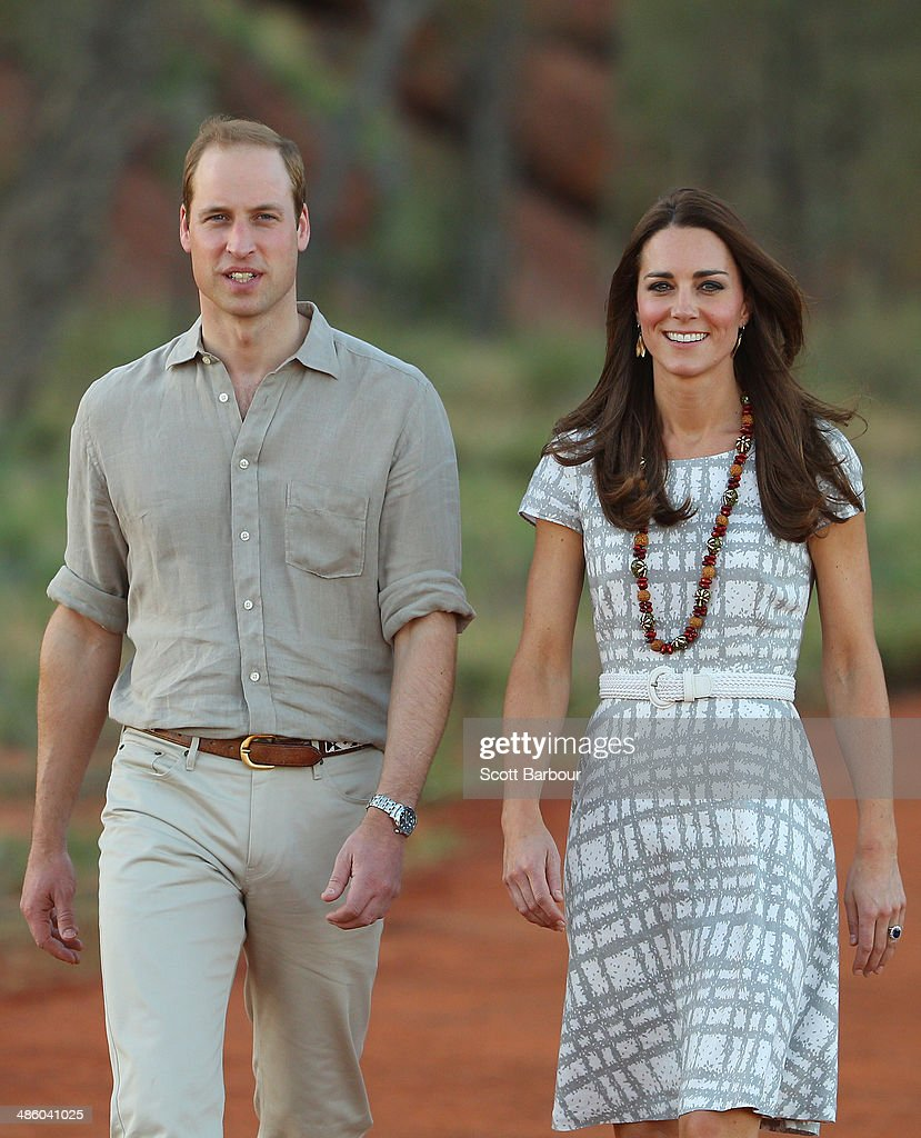 Catherine, Duchess of Cambridge and Prince William, Duke of Cambridge arrive at the National Indigenous Training Academy on April 22, 2014 in Ayers Rock, Australia. The Duke and Duchess of Cambridge are on a three-week tour of Australia and New Zealand, the first official trip overseas with their son, Prince George of Cambridge.