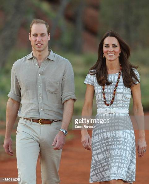 Catherine Duchess of Cambridge and Prince William Duke of Cambridge arrive at the National Indigenous Training Academy on April 22 2014 in Ayers Rock...