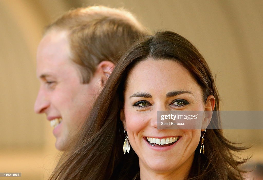 <a gi-track='captionPersonalityLinkClicked' href=/galleries/search?phrase=Catherine+-+Duchess+of+Cambridge&family=editorial&specificpeople=542588 ng-click='$event.stopPropagation()'>Catherine</a>, Duchess of Cambridge and Prince William, Duke of Cambridge smile as they arrive at the National Indigenous Training Academy on April 22, 2014 in Ayers Rock, Australia. The Duke and Duchess of Cambridge are on a three-week tour of Australia and New Zealand, the first official trip overseas with their son, Prince George of Cambridge.