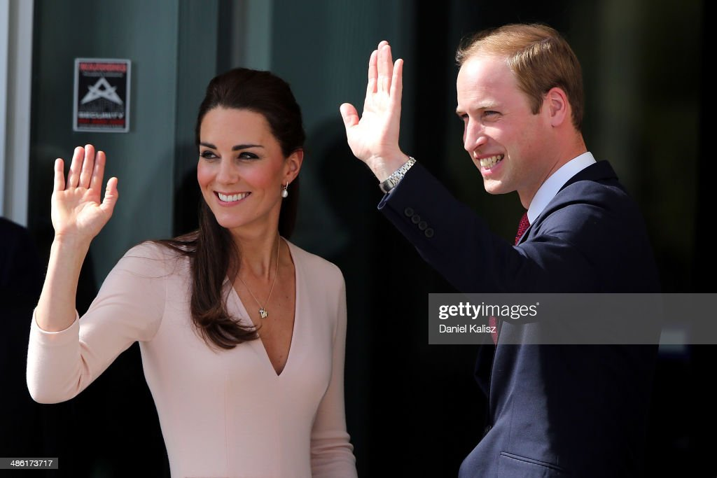 Catherine, Duchess of Cambridge and Prince William, Duke of Cambridge wave to spectators outside the Playford Civic Centre on April 23, 2014 in Adelaide, Australia. The Duke and Duchess of Cambridge are on a three-week tour of Australia and New Zealand, the first official trip overseas with their son, Prince George of Cambridge.