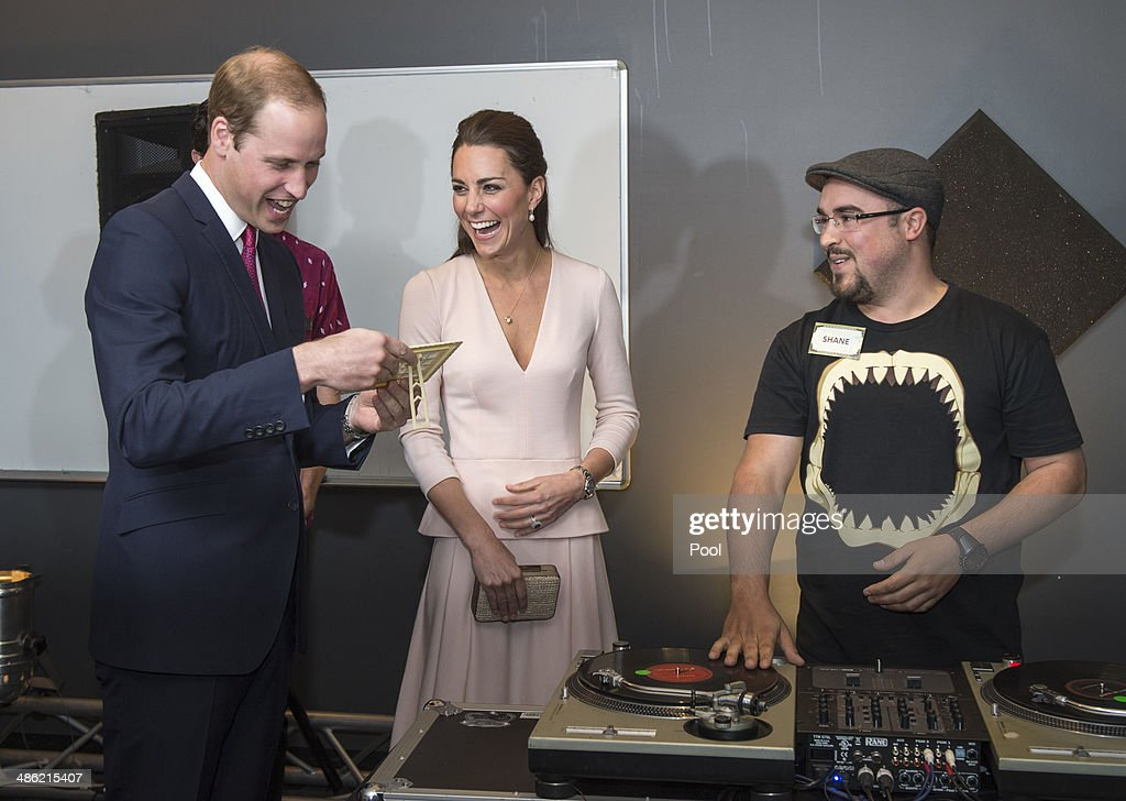 <a gi-track='captionPersonalityLinkClicked' href=/galleries/search?phrase=Catherine+-+Duchess+of+Cambridge&family=editorial&specificpeople=542588 ng-click='$event.stopPropagation()'>Catherine</a>, Duchess of Cambridge and <a gi-track='captionPersonalityLinkClicked' href=/galleries/search?phrase=Prince+William&family=editorial&specificpeople=178205 ng-click='$event.stopPropagation()'>Prince William</a>, Duke of Cambridge are shown how to play on DJ decks at the youth community centre, The Northern Sound System in Elizabeth on April 23, 2014 in Adelaide, Australia. The Duke and Duchess of Cambridge are on a three-week tour of Australia and New Zealand, the first official trip overseas with their son, Prince George of Cambridge.