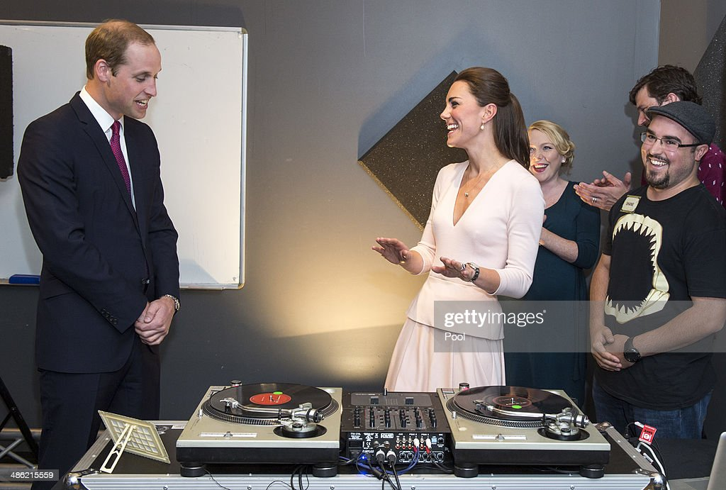 Catherine, Duchess of Cambridge and Prince William, Duke of Cambridge laugh as they are shown how to play on DJ decks at the youth community centre, The Northern Sound System in Elizabeth on April 23, 2014 in Adelaide, Australia. The Duke and Duchess of Cambridge are on a three-week tour of Australia and New Zealand, the first official trip overseas with their son, Prince George of Cambridge.