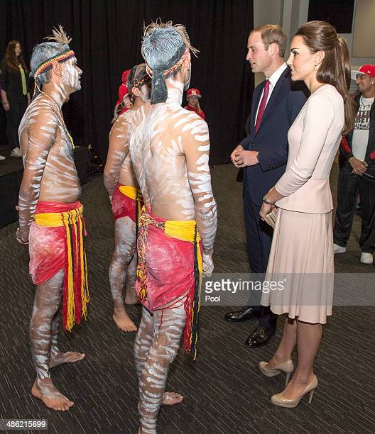 Catherine Duchess of Cambridge and Prince William Duke of Cambridge speak to performers at the youth community centre The Northern Sound System in...