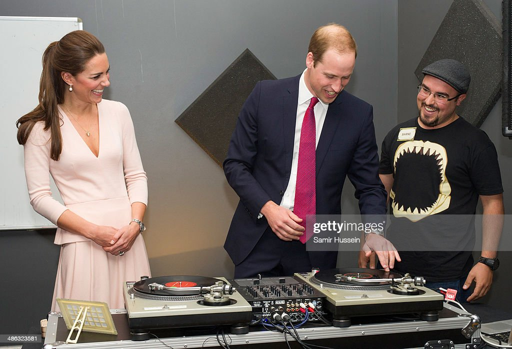 <a gi-track='captionPersonalityLinkClicked' href=/galleries/search?phrase=Catherine+-+Duchess+of+Cambridge&family=editorial&specificpeople=542588 ng-click='$event.stopPropagation()'>Catherine</a>, Duchess of Cambridge and <a gi-track='captionPersonalityLinkClicked' href=/galleries/search?phrase=Prince+William&family=editorial&specificpeople=178205 ng-click='$event.stopPropagation()'>Prince William</a>, Duke of Cambridge play on DJ decks at the youth community centre, The Northern Sound System in Elizabeth on April 23, 2014 in Adelaide, Australia. The Duke and Duchess of Cambridge are on a three-week tour of Australia and New Zealand, the first official trip overseas with their son, Prince George of Cambridge.