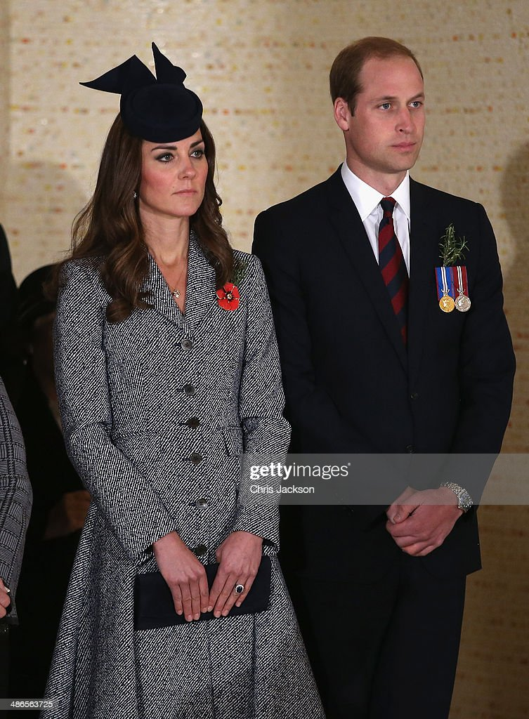 Catherine, Duchess of Cambridge and Prince William, Duke of Cambridge lay a wreath on ANZAC Day at the Australian War Memorial on April 25 2014 in Canberra, Australia. The Duke and Duchess of Cambridge are on a three-week tour of Australia and New Zealand, the first official trip overseas with their son, Prince George of Cambridge.