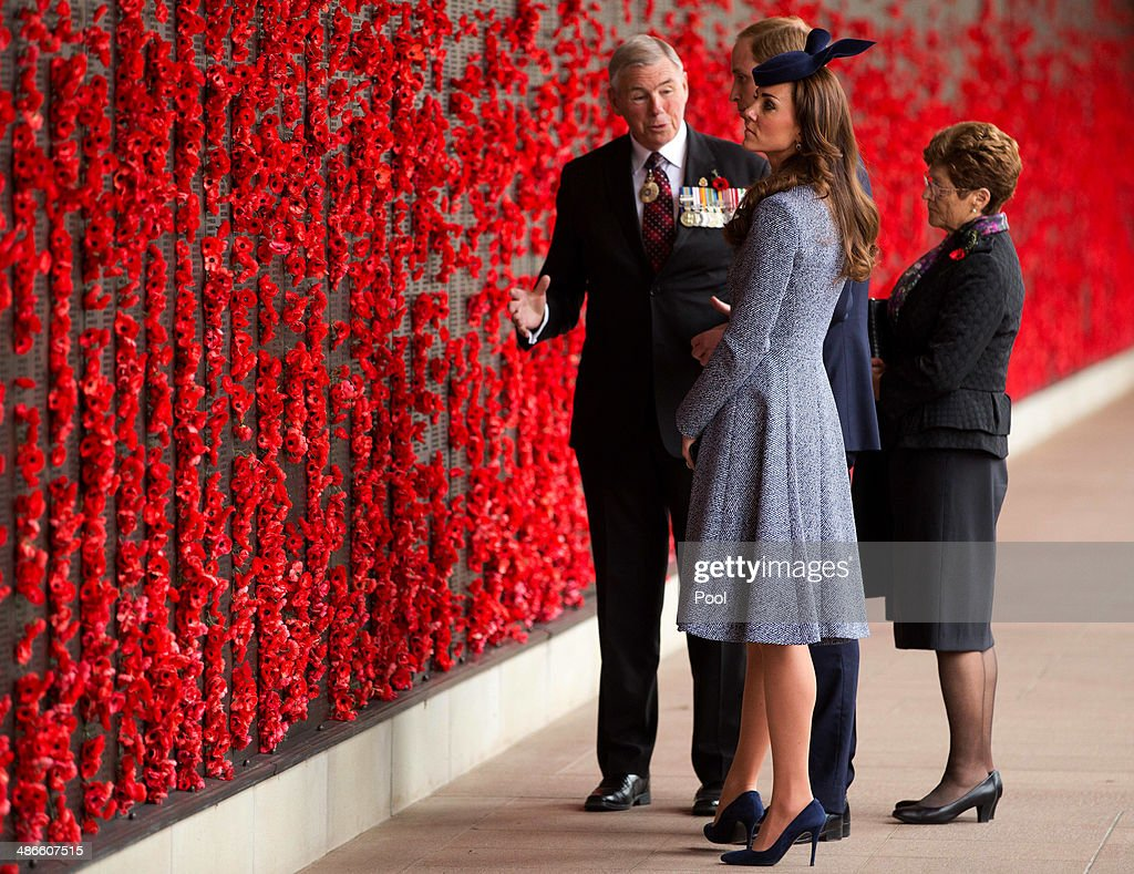 Catherine Duchess of Cambridge and Prince William Duke of Cambridge walk along the World War I Wall of Remembrance with Chairman of the Australian...