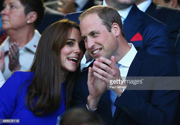 Catherine Duchess of Cambridge and Prince William Duke of Cambridge clap during the opening ceremony of the 2015 Rugby World Cup Pool A match between...