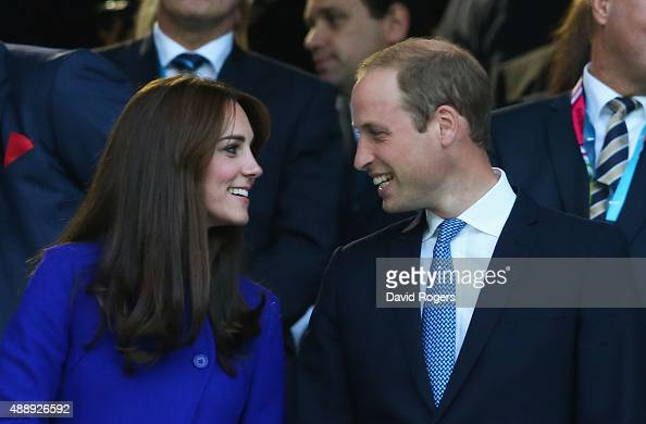 Catherine Duchess of Cambridge and Prince William Duke of Cambridge attend the opening ceremony ahead of the 2015 Rugby World Cup Pool A match...