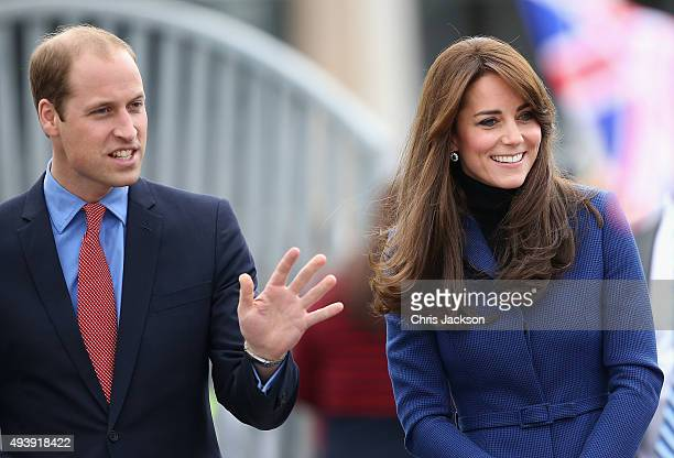 Catherine Duchess of Cambridge and Prince William Duke of Cambridge arrive at RSS Discovery as part of an away day to the Scottish City on October 23...