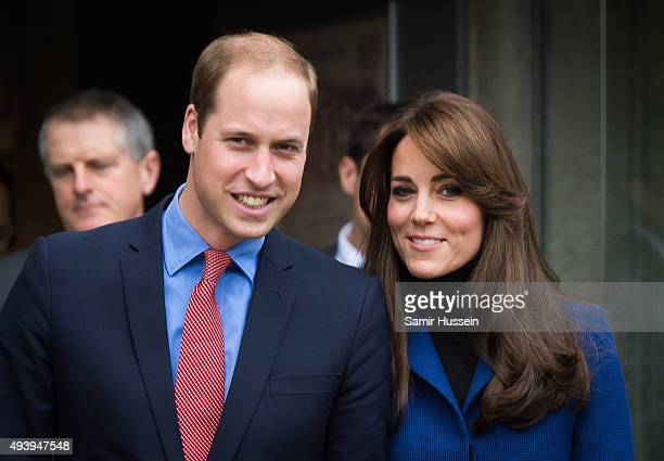 Catherine Duchess of Cambridge and Prince William Duke of Cambridge visit Dundee Rep Theatre on October 23 2015 in Dundee Scotland