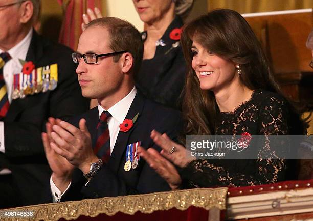 Catherine Duchess of Cambridge and Prince William Duke of Cambridge in the Royal Box the Royal Albert Hall for the Annual Festival of Remembrance on...