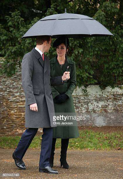 Catherine Duchess of Cambridge and Prince William Duke of Cambridge attend a Christmas Day church service at Sandringham on December 25 2015 in...