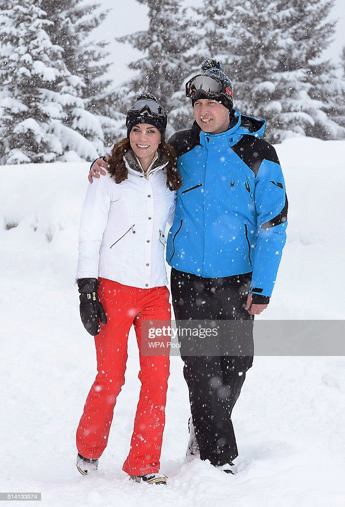 Catherine Duchess of Cambridge and Prince William Duke of Cambridge enjoy a short private skiing break on March 3 2016 in the French Alps France...