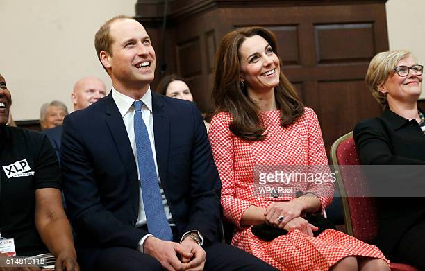 Catherine Duchess of Cambridge and Prince William Duke of Cambridge visit the mentoring programme of the XLP project at London Wall on March 11 2016...