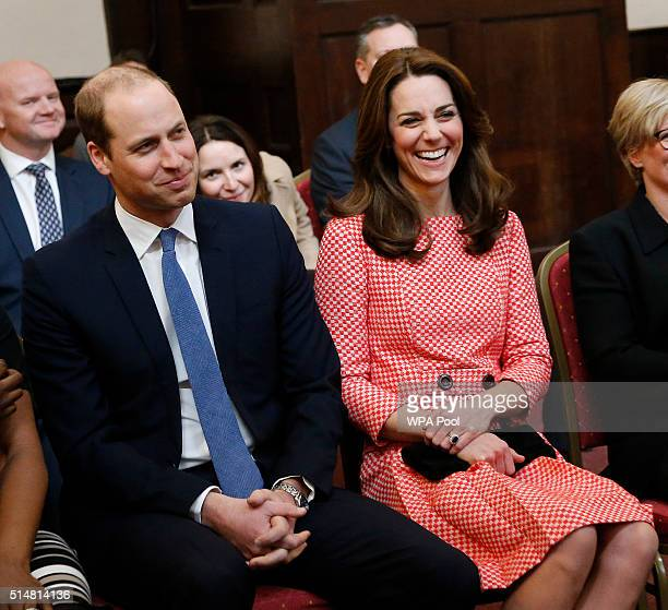 Catherine Duchess of Cambridge and Prince William Duke of Cambridge laugh as they visit the mentoring programme of the XLP project at London Wall on...