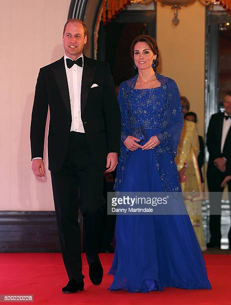 Catherine Duchess of Cambridge and Prince William Duke of Cambridge attend the Bollywood Inspired Charity Gala at the Taj Palace Hotel on April 10...