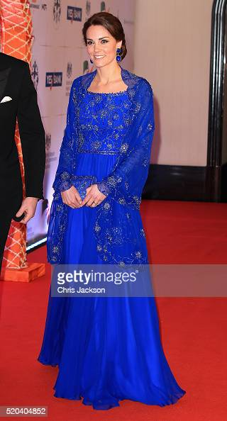 Catherine Duchess of Cambridge and Prince William Duke of Cambridge arrive for a Bollywood Inspired Charity Gala at the Taj Mahal Palace Hotel during...