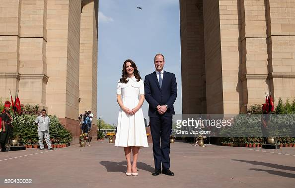 Catherine Duchess of Cambridge and Prince William Duke of Cambridge pose for a picture at India Gate Memorial on day 2 of the royal visit to India...