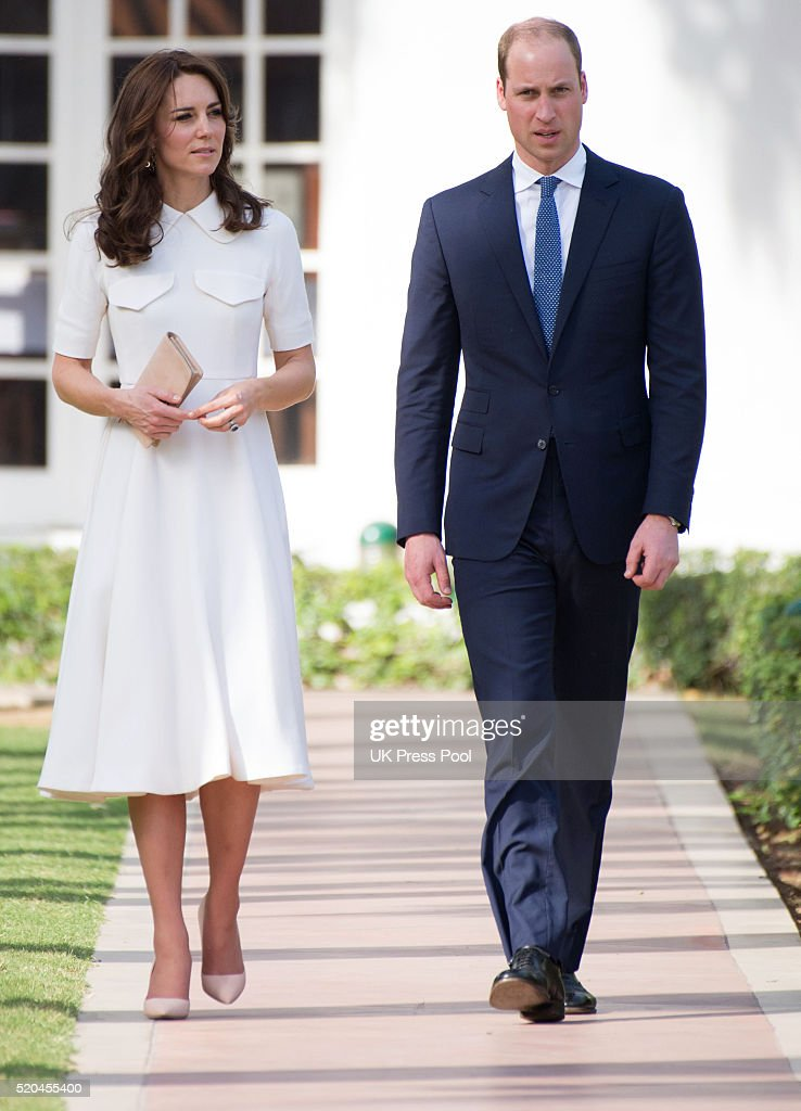 Catherine Duchess of Cambridge and Prince William Duke of Cambridge on a tour of the Gandhi Smriti museum at Old Birla House on April 11 2016 in New...