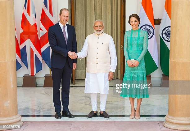 Catherine Duchess of Cambridge and Prince William Duke of Cambridge meet Prime Minister of India Narenda Modi in New Delhi's Hyderabad House on April...