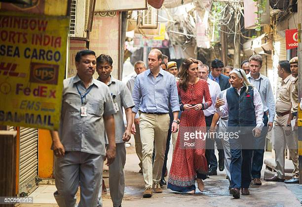 Catherine Duchess of Cambridge and Prince William Duke of Cambridge arrive for a visit to a contact centre run by the charity Salaam Baalak which...