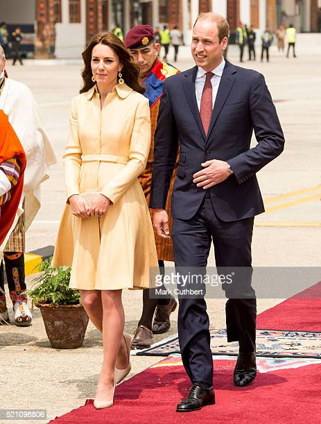 Catherine Duchess of Cambridge and Prince William Duke of Cambridge arrive for a ceremonial welcome at Paro International Airport for the first day...