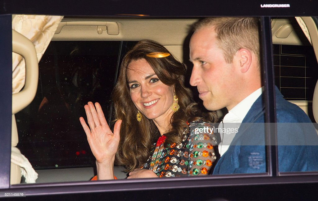Catherine, Duchess of Cambridge and Prince William, Duke of Cambridge leave the Taj Tashi hotel to attend a dinner with King Jigme Khesar Namgyel Wangchuck and Queen Jetsun Pema on day five of the royal tour to India and Bhutan on April 14, 2015 in Thimphu, Bhutan.