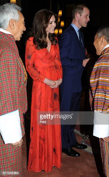 Catherine Duchess of Cambridge and Prince William Duke of Cambridge attend a reception celebrating UK and Bhutanese friendship and cooperation at the...