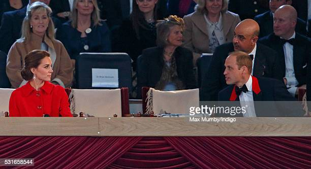Catherine Duchess of Cambridge and Prince William Duke of Cambridge attend the final night of The Queen's 90th Birthday Celebrations being held at...
