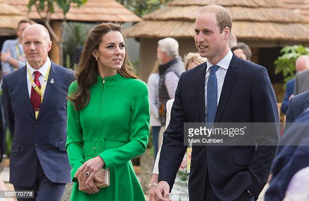 Catherine Duchess of Cambridge and Prince William Duke of Cambridge attend Chelsea Flower Show press day at Royal Hospital Chelsea on May 23 2016 in...