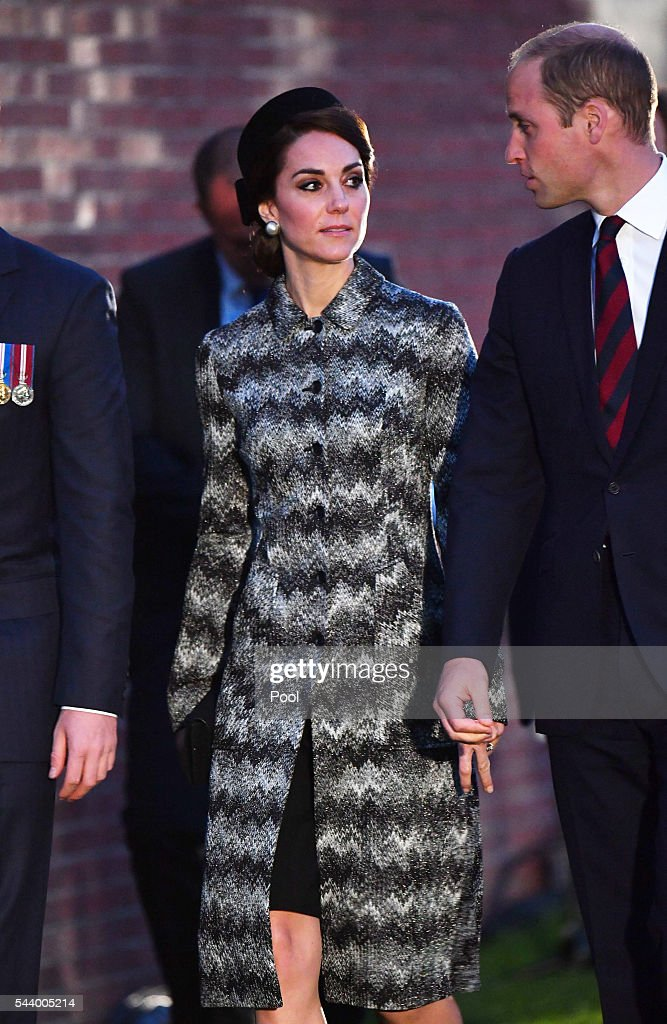 Catherine, Duchess of Cambridge and <a gi-track='captionPersonalityLinkClicked' href=/galleries/search?phrase=Prince+William&family=editorial&specificpeople=178205 ng-click='$event.stopPropagation()'>Prince William</a>, Duke of Cambridge attend part of a military-led vigil to commemorate the 100th anniversary of the beginning of the Battle of the Somme at the Thiepval memorial to the Missing in June 30, 2016 in Thiepval, France. The event is part of the Commemoration of the Centenary of the Battle of the Somme at the Commonwealth War Graves Commission Thiepval Memorial in Thiepval, France, where 70,000 British and Commonwealth soldiers with no known grave are commemorated.