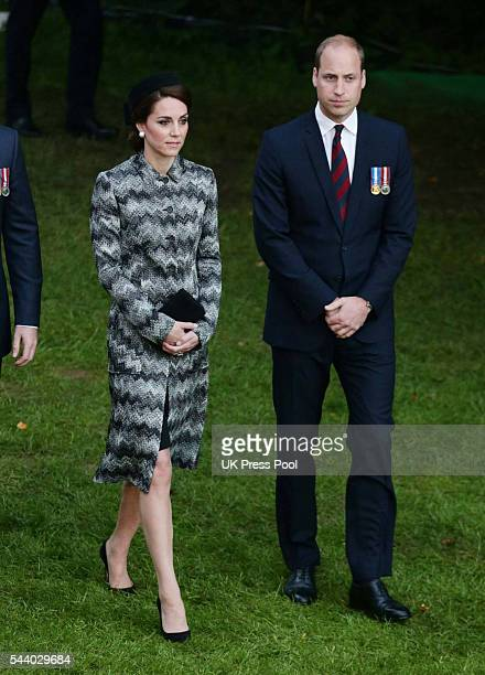 Catherine Duchess of Cambridge and Prince William Duke of Cambridge attend a Vigil at The Commonwealth War Graves Commission Thiepval Memorial for...