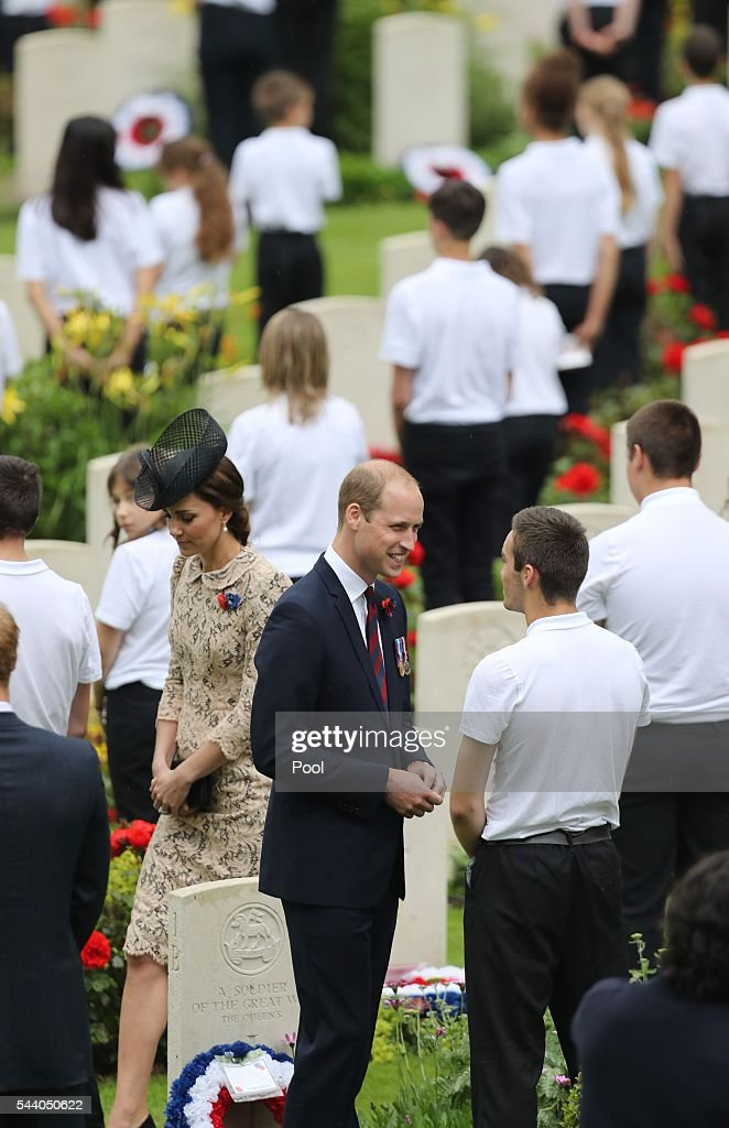 Catherine, Duchess of Cambridge and <a gi-track='captionPersonalityLinkClicked' href=/galleries/search?phrase=Prince+William&family=editorial&specificpeople=178205 ng-click='$event.stopPropagation()'>Prince William</a>, Duke of Cambridge attend a service to mark the 100th anniversary of the beginning of the Battle of the Somme at the Thiepval memorial to the Missing on July 1, 2016 in Thiepval, France. The event is part of the Commemoration of the Centenary of the Battle of the Somme at the Commonwealth War Graves Commission Thiepval Memorial in Thiepval, France, where 70,000 British and Commonwealth soldiers with no known grave are commemorated.