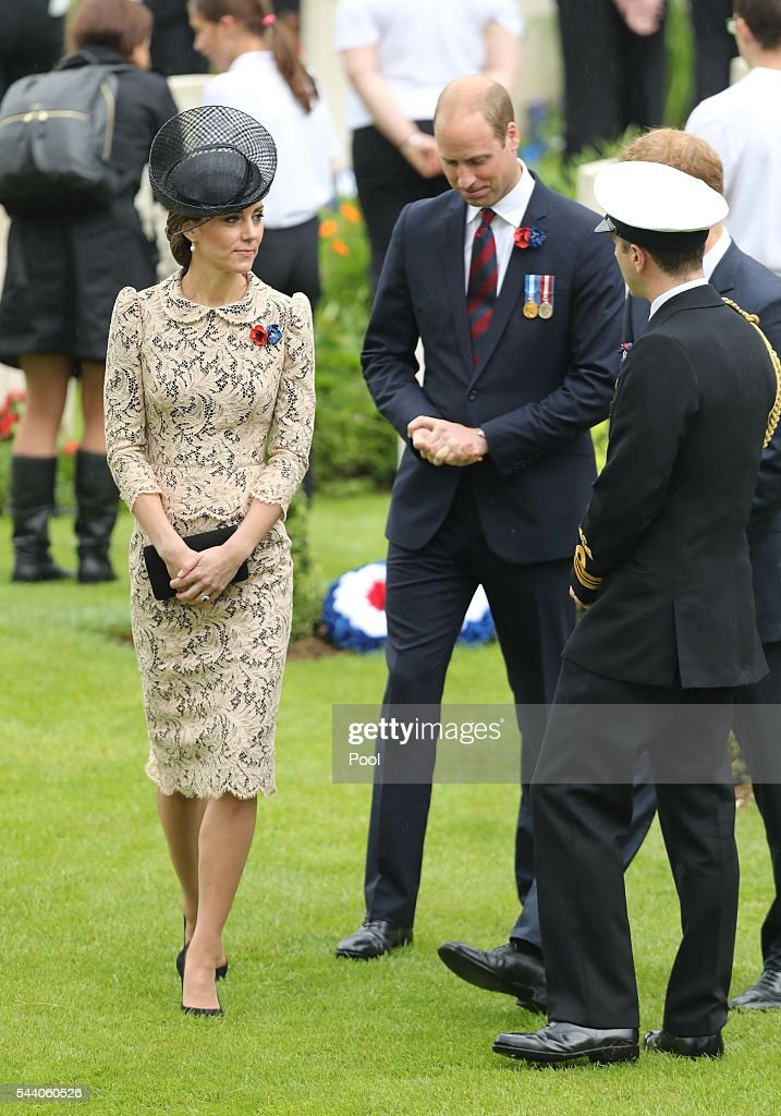 Catherine, Duchess of Cambridge and Prince William, Duke of Cambridge attend a service to mark the 100th anniversary of the beginning of the Battle of the Somme at the Thiepval memorial to the Missing on July 1, 2016 in Thiepval, France. The event is part of the Commemoration of the Centenary of the Battle of the Somme at the Commonwealth War Graves Commission Thiepval Memorial in Thiepval, France, where 70,000 British and Commonwealth soldiers with no known grave are commemorated.