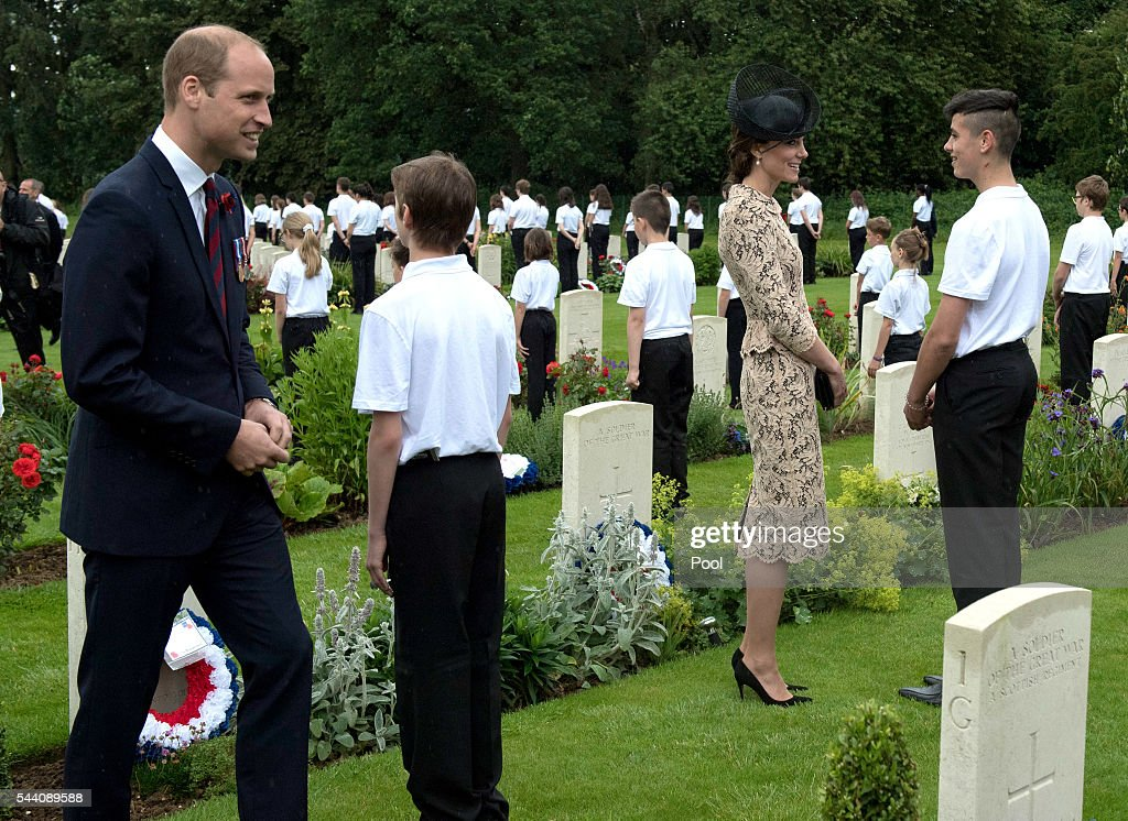 Catherine, Duchess of Cambridge and <a gi-track='captionPersonalityLinkClicked' href=/galleries/search?phrase=Prince+William&family=editorial&specificpeople=178205 ng-click='$event.stopPropagation()'>Prince William</a>, Duke of Cambridge meet British and French school children during the Commemoration of the Centenary of the Battle of the Somme at the Commonwealth War Graves Commission Thiepval Memorial on July 1, 2016 in Thiepval, France. The event is part of the Commemoration of the Centenary of the Battle of the Somme at the Commonwealth War Graves Commission Thiepval Memorial in Thiepval, France, where 70,000 British and Commonwealth soldiers with no known grave are commemorated.
