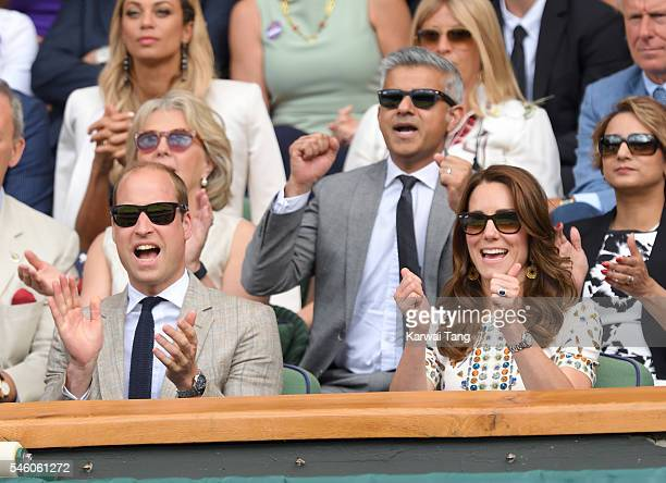 Catherine Duchess of Cambridge and Prince William Duke of Cambridge attend the Men's Final of the Wimbledon Tennis Championships between Milos Raonic...