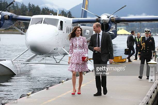 Catherine Duchess of Cambridge and Prince William Duke of Cambridge after arriving by sea plane at the Vancouver Harbour Flight Centre during their...