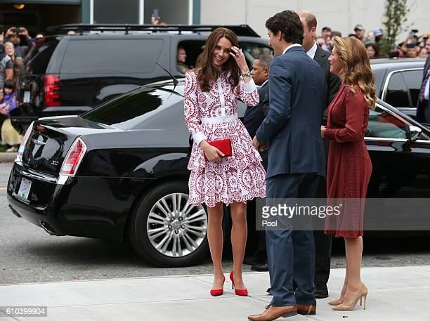 Catherine Duchess of Cambridge and Prince William Duke of Cambridge are welcomed by Canadian Prime Minister Justin Trudeau and wife Sophie Trudeau as...