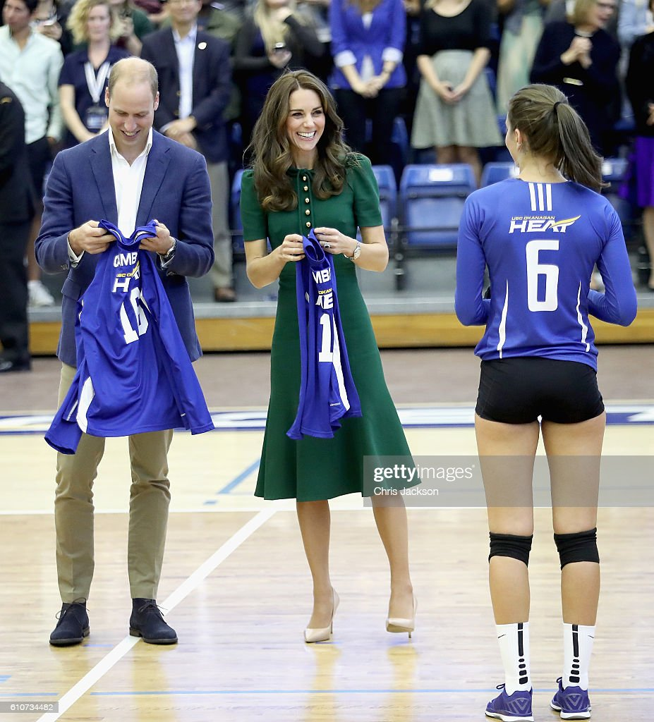 Catherine, Duchess of Cambridge and Prince William, Duke of Cambridge watch a game of volleyball as they visit Kelowna University during the Royal Tour of Canada on September 27, 2016 in Kelowna, Canada. Prince William, Duke of Cambridge, Catherine, Duchess of Cambridge, Prince George and Princess Charlotte are visiting Canada as part of an eight day visit to the country taking in areas such as Bella Bella, Whitehorse and Kelowna