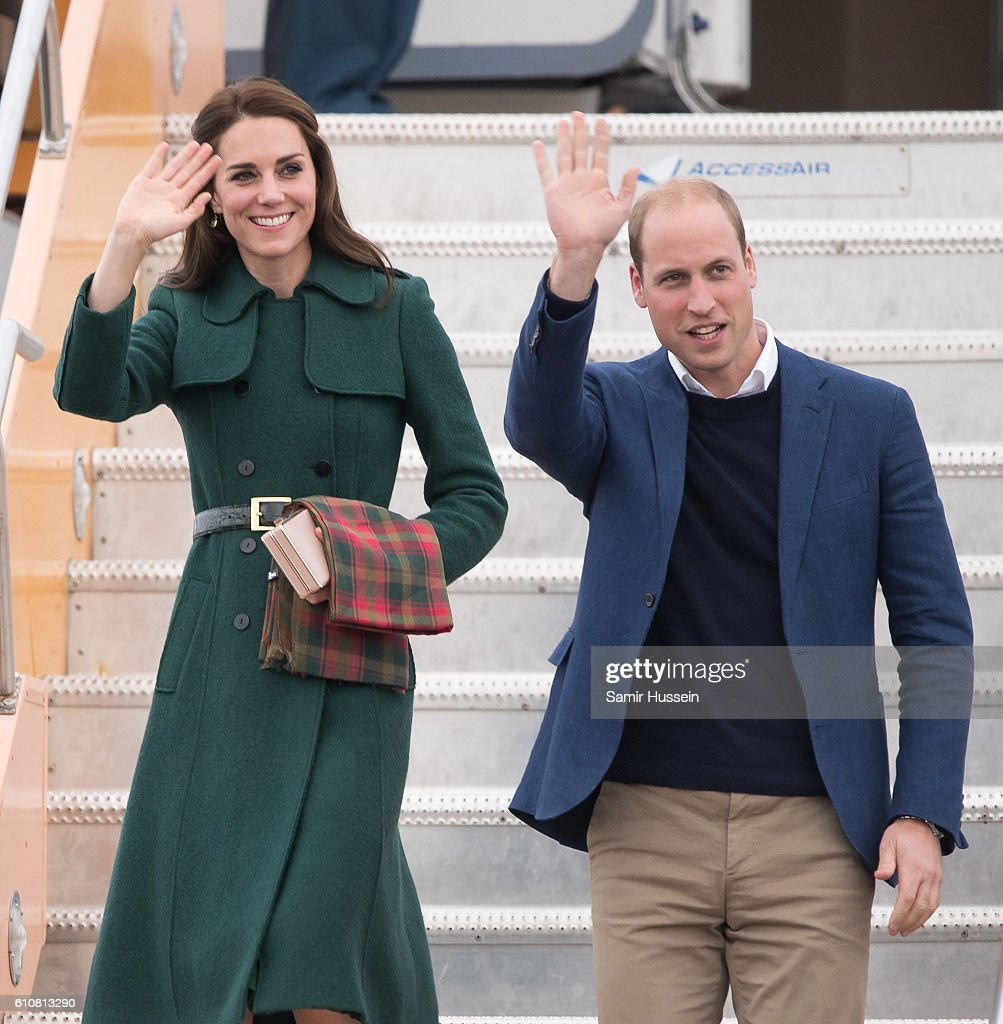 Catherine, Duchess of Cambridge and Prince William, Duke of Cambridge arrive at Whitehorse Airport on September 27, 2016 in Whitehorse, Canada.