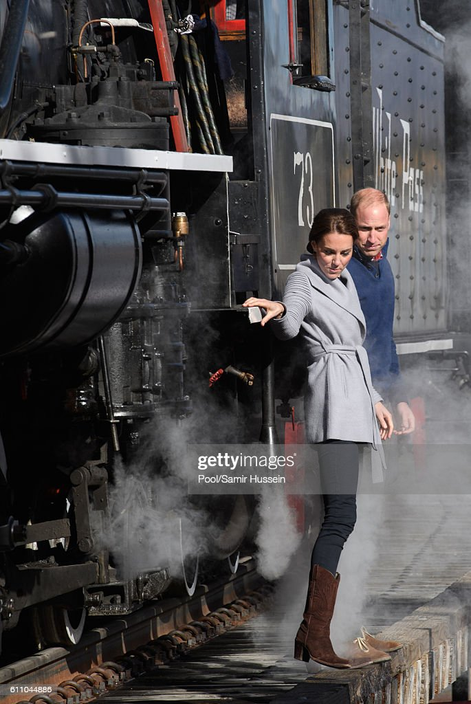 Catherine, Duchess of Cambridge and Prince William, Duke of Cambridge view a steam train as they visit Montana mountain Carcross on September 28, 2016 in Whitehorse, Canada.