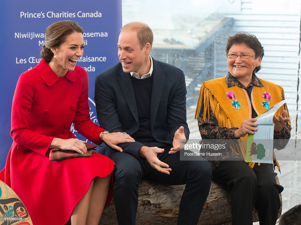 Catherine, Duchess of Cambridge and Prince William, Duke of Cambridge sit as stories are read to children at the McBride Museum on September 28, 2016 in Whitehorse, Canada.