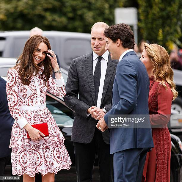 Catherine Duchess of Cambridge and Prince William Duke of Cambridge arrive at Immigrant Services Society of BC on September 25 2016 in Vancouver...