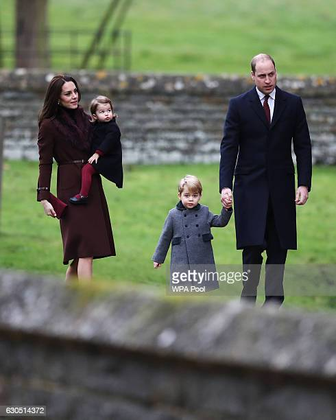 Catherine Duchess of Cambridge and Prince William Duke of Cambridge Prince George of Cambridge and Princess Charlotte of Cambridge arrive for the...