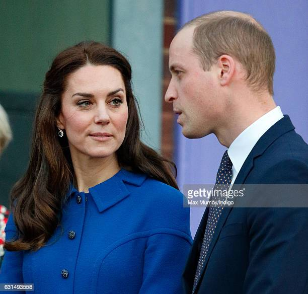 Catherine Duchess of Cambridge and Prince William Duke of Cambridge visit a Child Bereavement UK Centre at CBUK Stratford on January 11 2017 in...