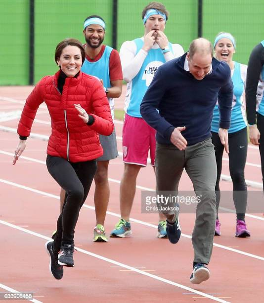Catherine Duchess of Cambridge and Prince William Duke of Cambridge race as they join Team Heads Together at a London Marathon Training Day at the...
