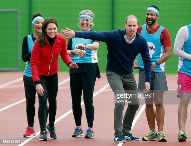Catherine Duchess of Cambridge and Prince William Duke of Cambridge take part in a race during a Marathon Training Day with Team Heads Together at...
